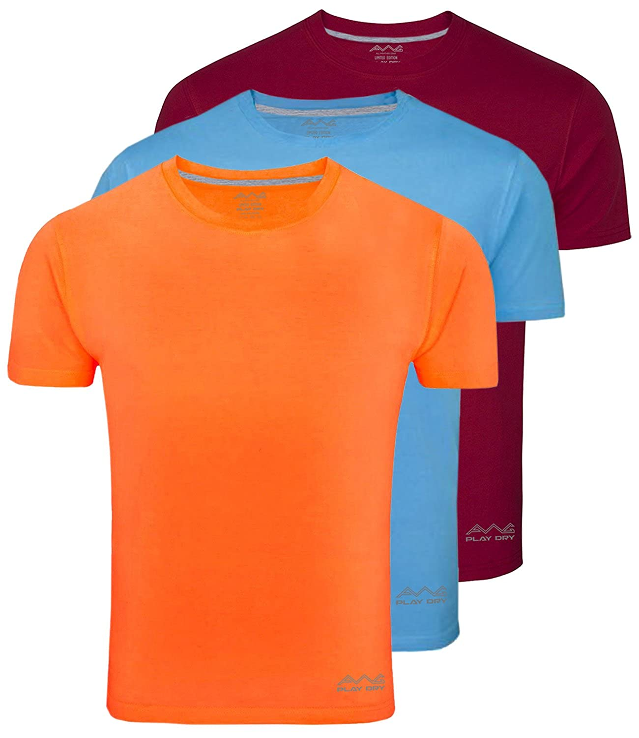 a7fa63e77 AWG - All Weather Gear Men's Dryfit Polyester Round Neck Half Sleeve T- Shirts - Pack of 3: Amazon.in: Clothing & Accessories