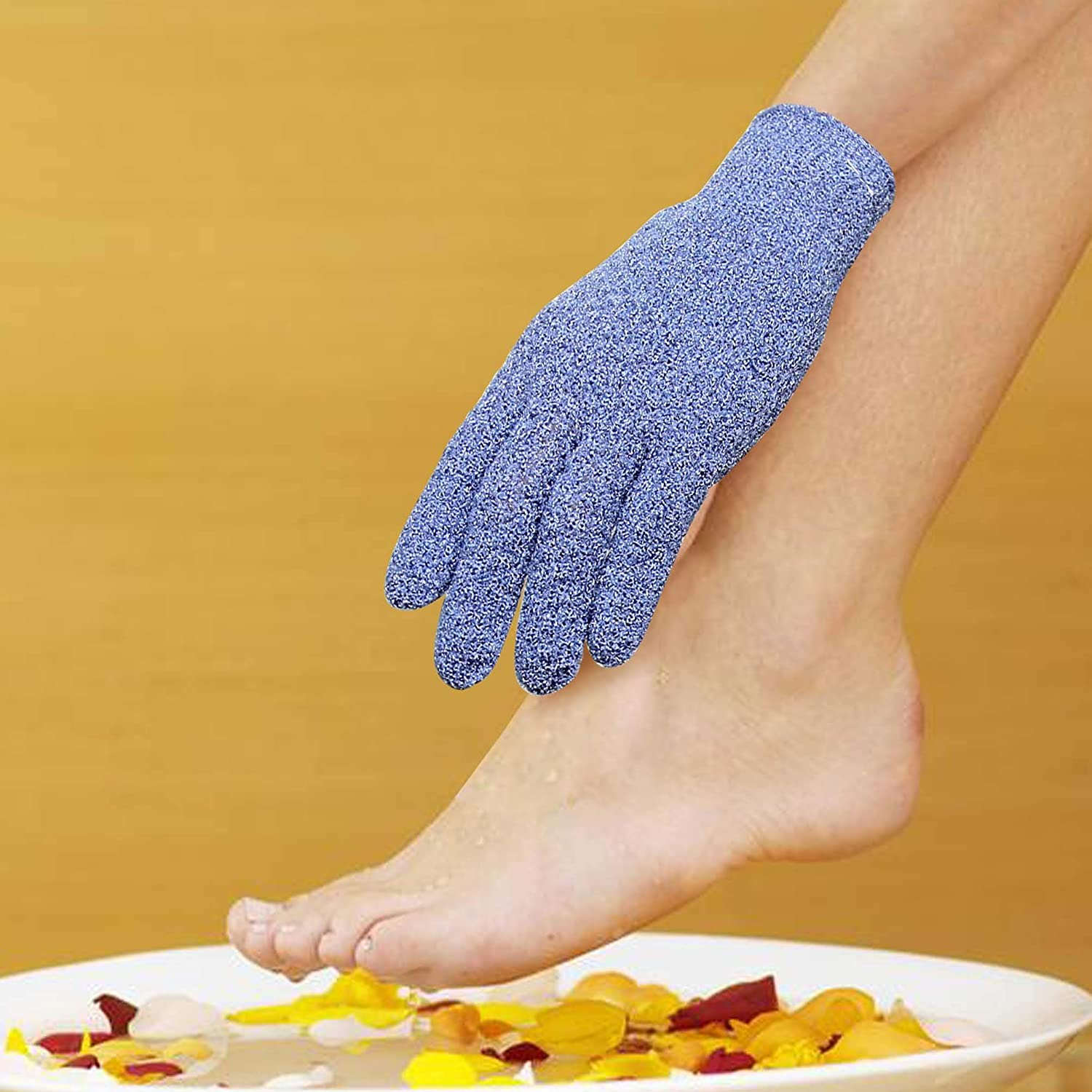 EvridWear Exfoliating Dual Texture Bath Gloves for Shower, Spa, Massage and Body Scrubs, Dead Skin Cell Remover, Gloves with hanging loop (1 Pair Heavy Glove): Beauty