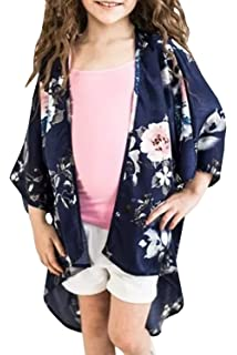fb56709f222a51 Girls Cardigans Kimono Floral Tops Summer Boho Cute Loose Cover Up Blouses