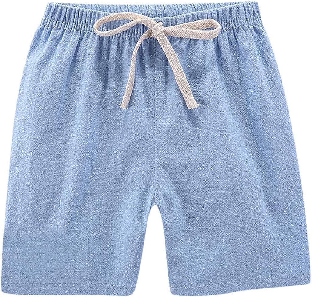 Weilov 2-7years Summer Children Kids Boy Girl Linen Casual Shorts Elastic Waist Pants Clothes Birthdays for Spring Summer