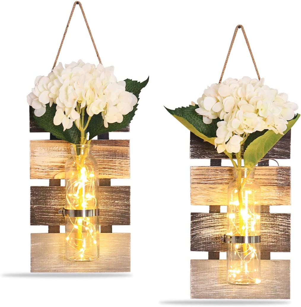 Rustic Wall Sconces , Rustic Home Decoration LED Wall Decor - Living Decoration, Silk Hydrangea and Home Kitchen Decoration (Set of 2) (large (Set of 2))
