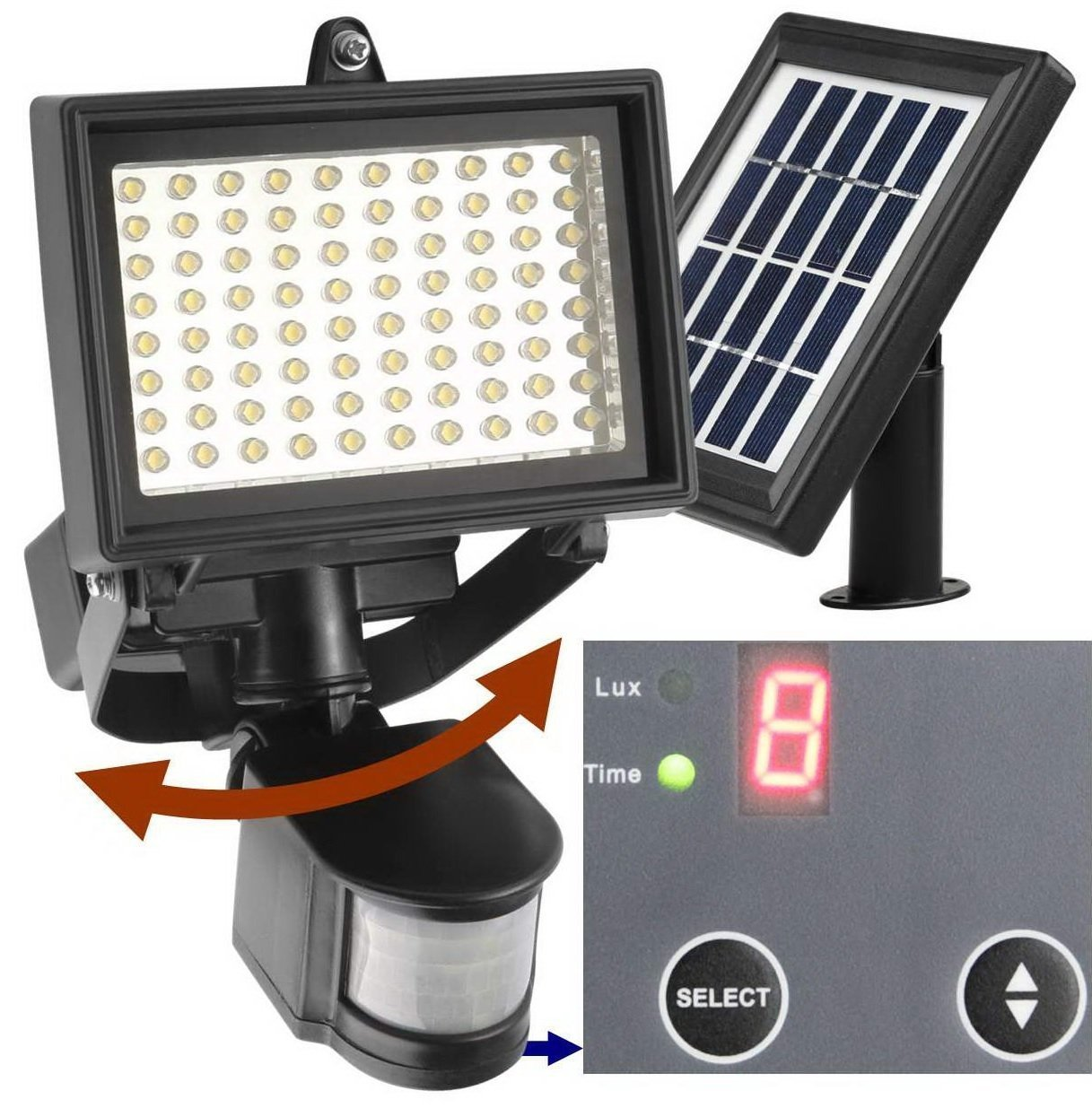 Amazon.com Robust Solar 80 LED Outdoor Solar Motion Light Digitally Adjustable Time u0026 LUX 2-axis Adjustable Motion Sensor with Lithium Battery Home u0026 ...  sc 1 st  Amazon.com & Amazon.com: Robust Solar 80 LED Outdoor Solar Motion Light ... azcodes.com