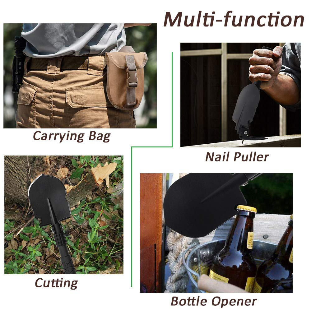 Portable Folding Shovel Pickaxe with Carrying Pouch: All-in-One Lightweight Durable Military Multi Tool Tactical Spade for Outdoor Camping Hiking Backpacking Trench Digging Garden Tool Emergency by Yeacool (Image #4)