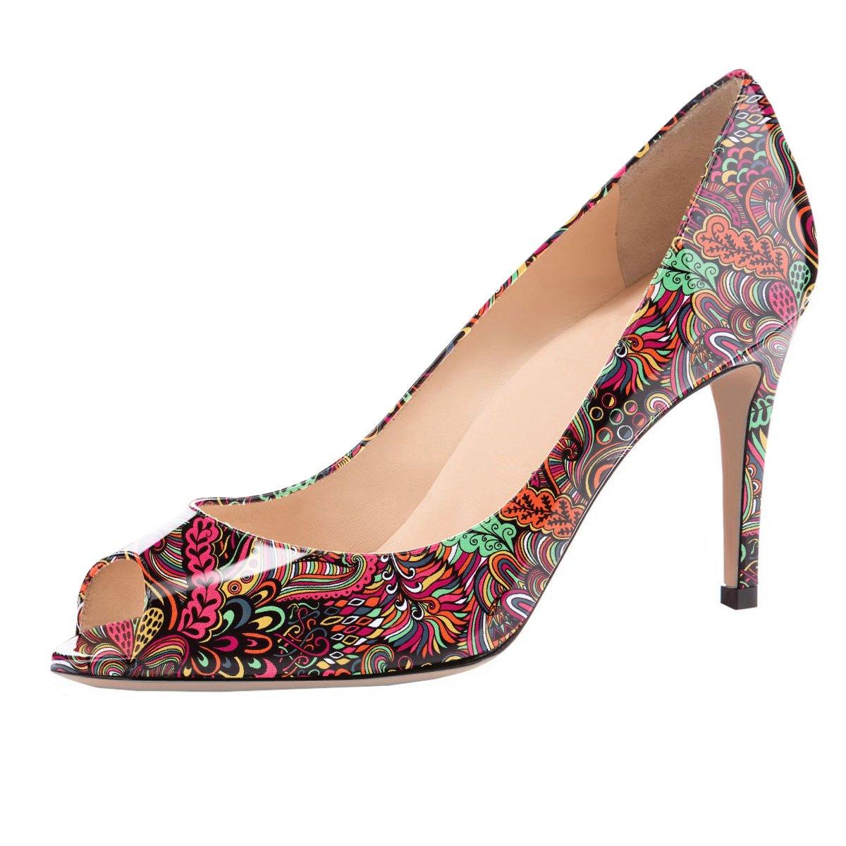 Eldof Women Peep Toe Pumps Mid-Heel Pumps Formal Wedding Bridal Classic Heel Open Toe Stiletto B07F423BZW 10 B(M) US|Red-pattern