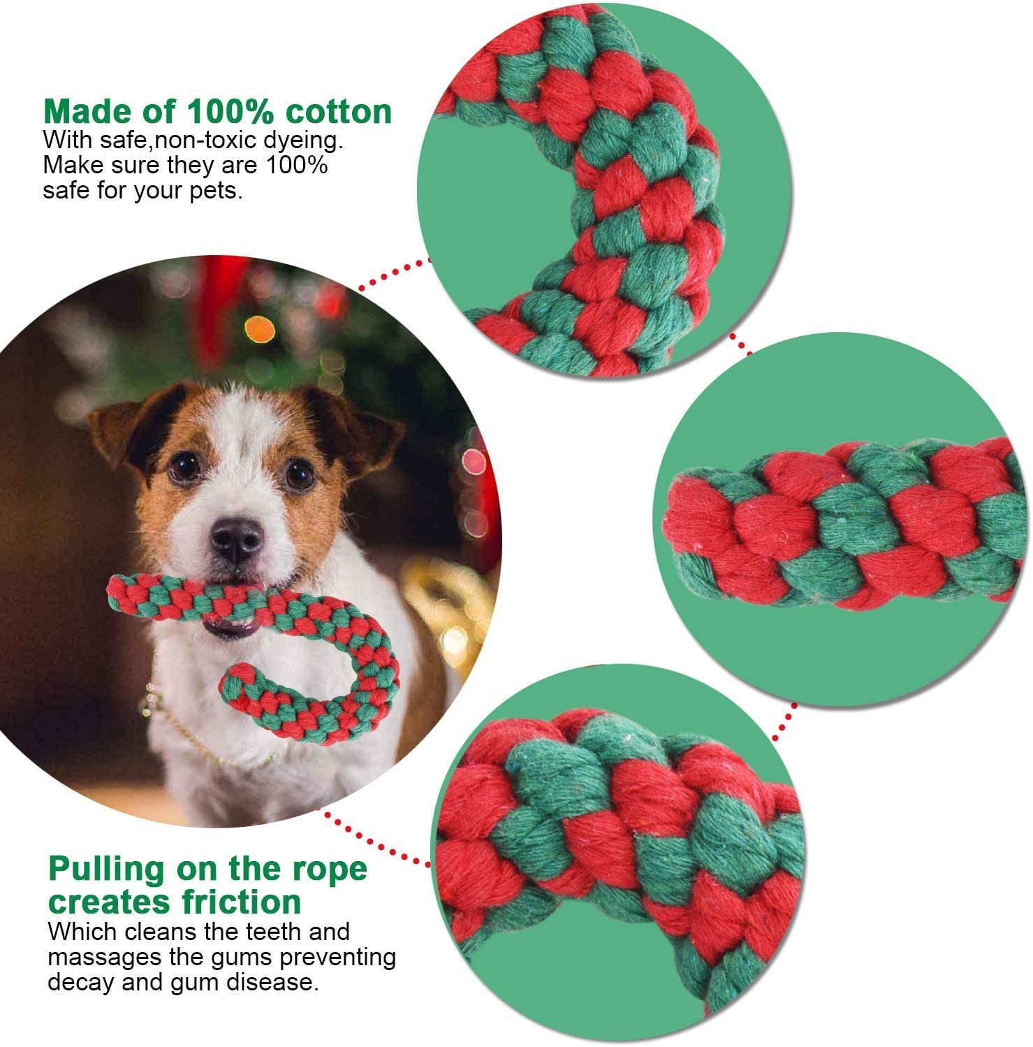 Christmas Dog Cotton Rope Toy Candy Cane Dog Toy Christmas Stocking Toys for Puppy Dogs Teething Cleaning and Training MAIAGO 2 Pack Christmas Dog Toy Set