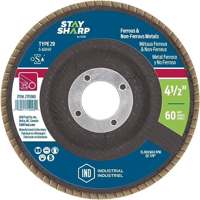 EAB Tool 2175060 4 1//2 x 60 Grit Standard Wood /& Metal Flap Disc Type 29 Professional Abrasive EAB Tool Company USA Inc