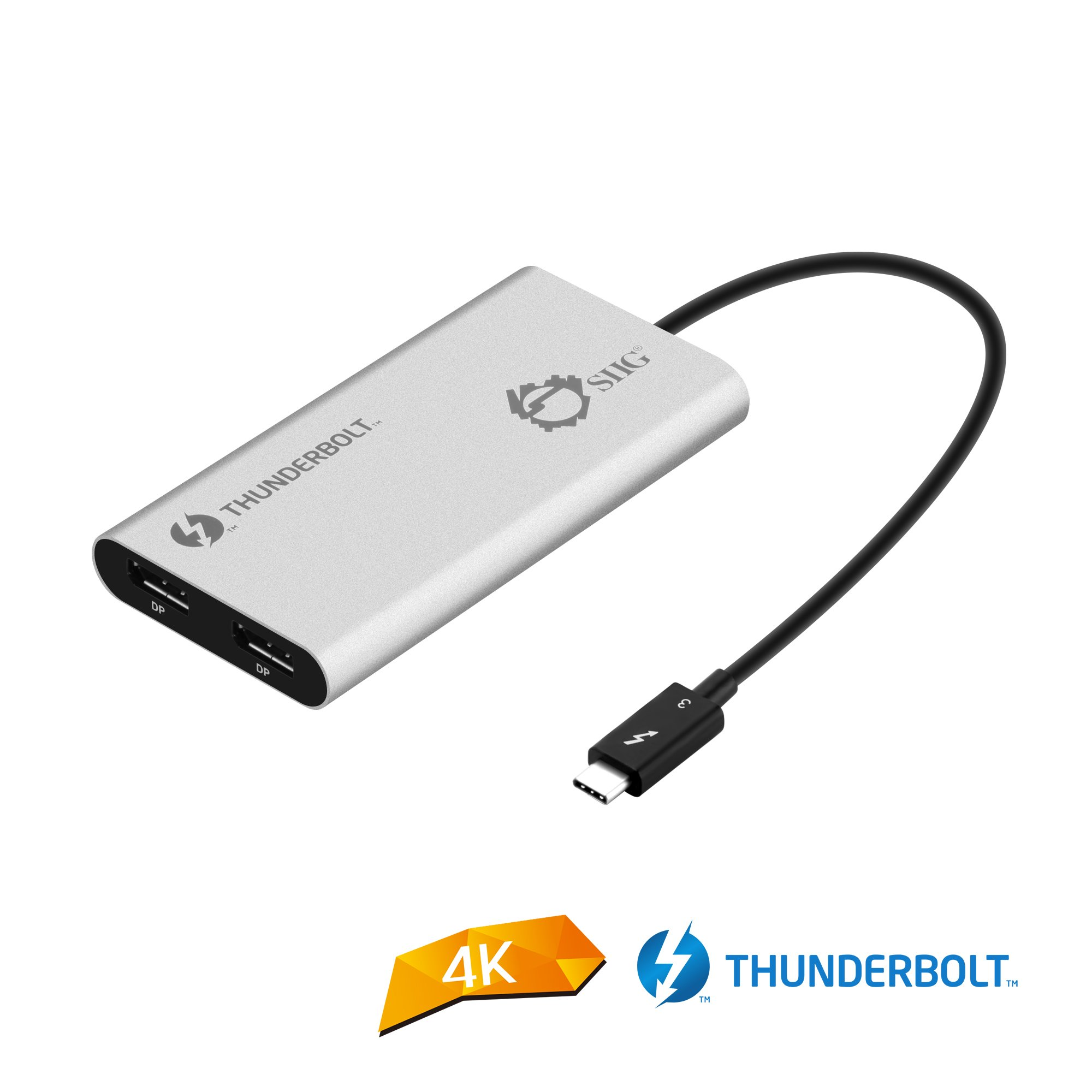 CERTIFIED SIIG Thunderbolt 3 to Dual DisplayPort Adapter - Single 5K@60H - Dual 4K@60HZ - USB Type C to 2 DP 1.2 orts for Mac & Windows INTEL THUNDERBOLT 3 CERTIFIED