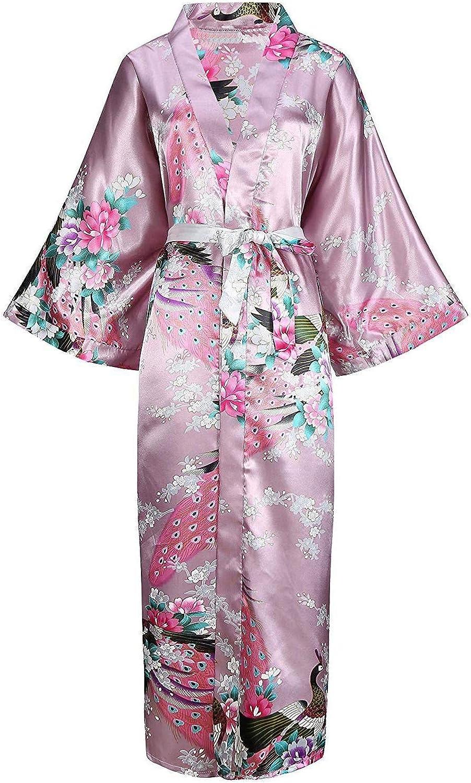 Miracle day Plus Size XXXL Chinese Women Long Robe Print Flower Peacock Kimono Bathrobe Gown Sleepwear