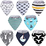 8-Pack Boys Bibs - Kirecoo Baby Bandana Drool Bibs for Drooling and Teething, 100% Organic Cotton and Super Absorbent…