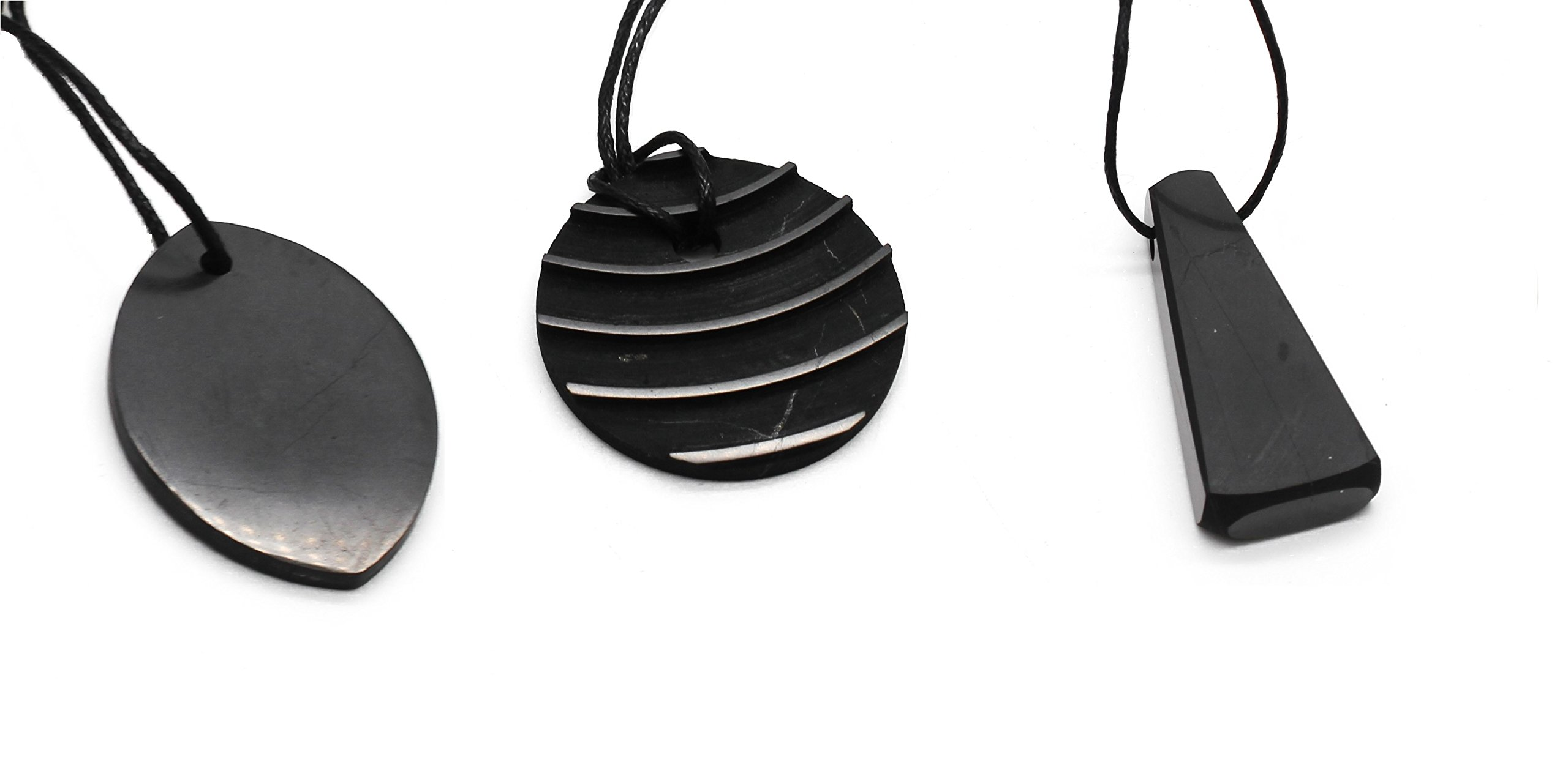 Shungite Pendant Set, 3 pieces. Highly EMF Protective Pendants and Loved By All. S007 by Karelian Heritage