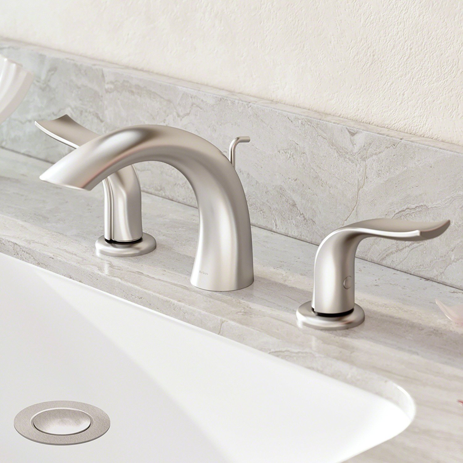Kohra Spot-Free Two Handle 8 Inch Widespread Bathroom Faucet with Lift Rod Drain, All-Brite Brushed Nickel FUS-14003BN
