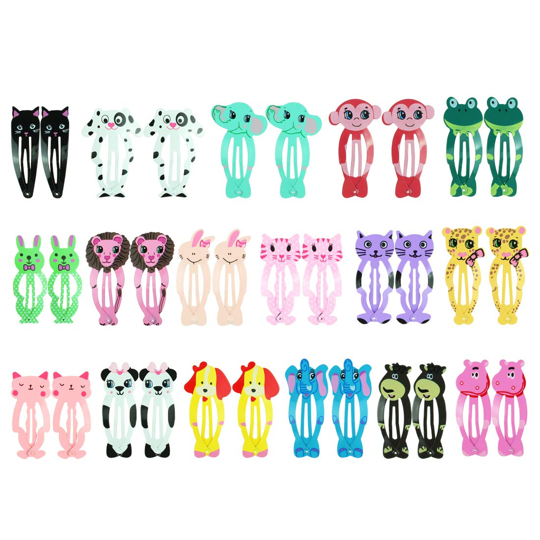 JINSEY Animal Pattern Snap Hair Clips 34pcs 2'' Metal Hair Clip Barrettes Kids Girls