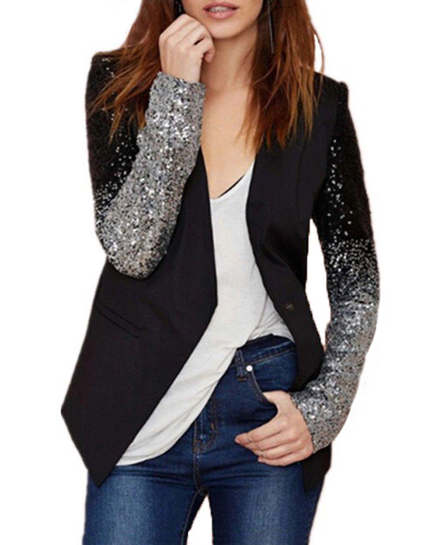 Auxo Women's Blazer Jacket Sparkle Sequin Button Long Sleeve Patchwork Suit Top Coat Black US 16/Asian 3XL