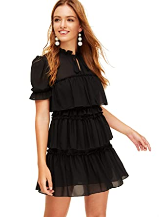 898359822fc Romwe Women's Vintage Short Sleeve Tie Neck Ruffle Trim Layered Mesh Mini Dress  Black XS