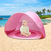 Nequare Baby Beach Tent Pop Up Tent Baby Beach Pool Sun Shelter UV Protection Beach Shade for Baby and Family(pink)