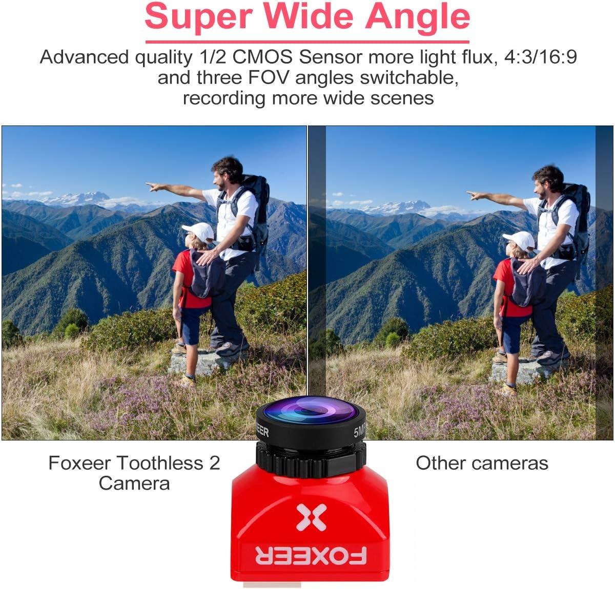 Foxeer FPV Camera Toothless 2 Mini Camera 1200TVL 1,7 mm M12 Obiettivo con sensore da 1//2 Pollice Super HDR Cam e Super Wide FOV 4 3 16 9 NTSC Pal Supporto OSD Telecomando FC per Racing Drone Red