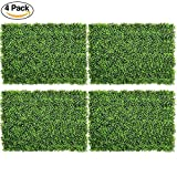 DearHouse 4Pack Artificial Boxwood Panels Topiary Hedge Plants Artificial Greenery Fence Panels for Greenery Walls,Garden,Privacy Screen,Backyard and Home Decor