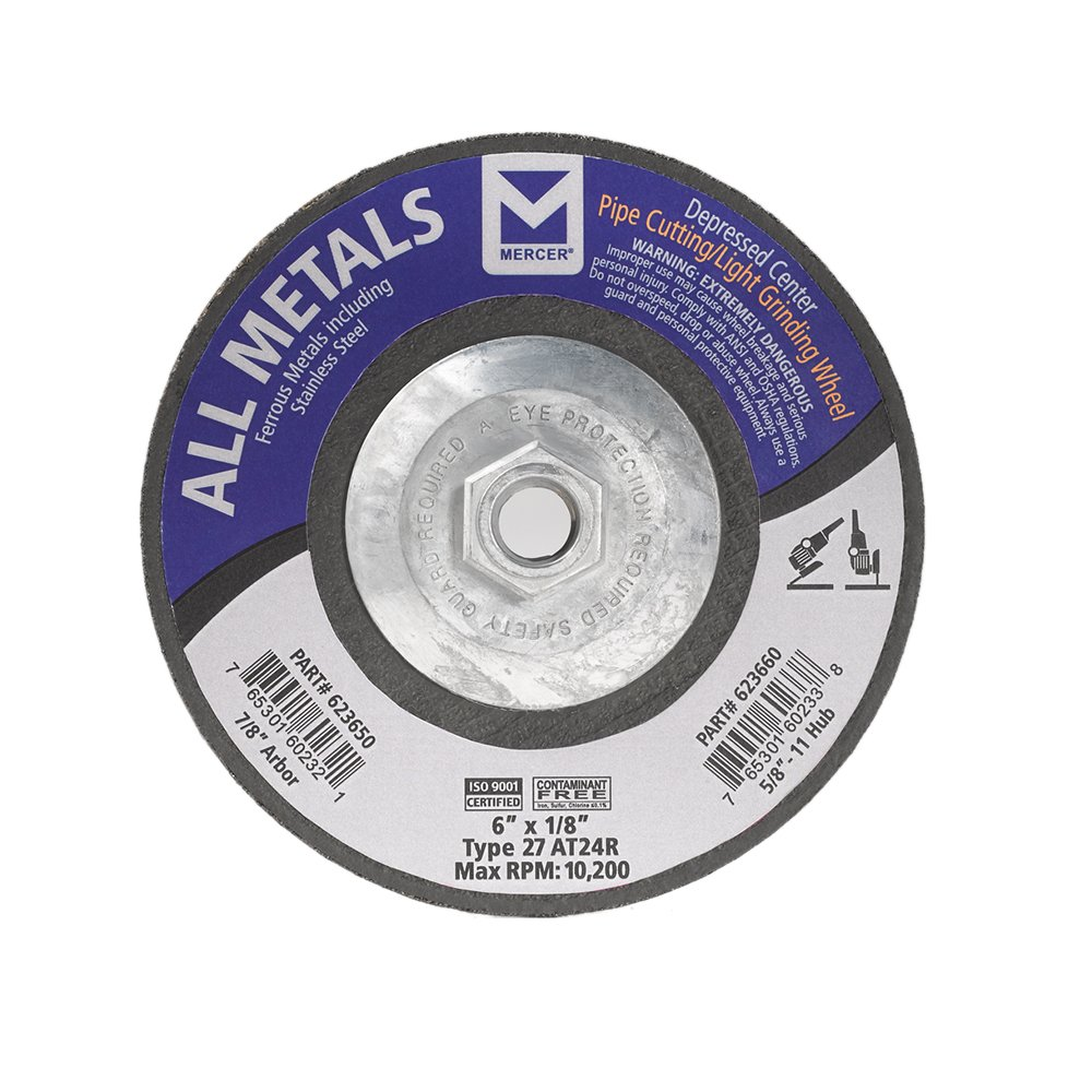 5 x 1//8 x 7//8 25 Pack Mercer Industries 620080 Type 27 Cut-Off and Light Grinding Wheels for Ferrous Metals