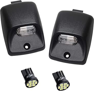 Pack of 2 HERCOO White LED License Plate Light Lens Tag Lamps Assembly Compatible with 2005-2015 Toyota Tacoma 2002-2013 Tundra Pickup Truck Rear Step Bumper Aftermarket Repalcement