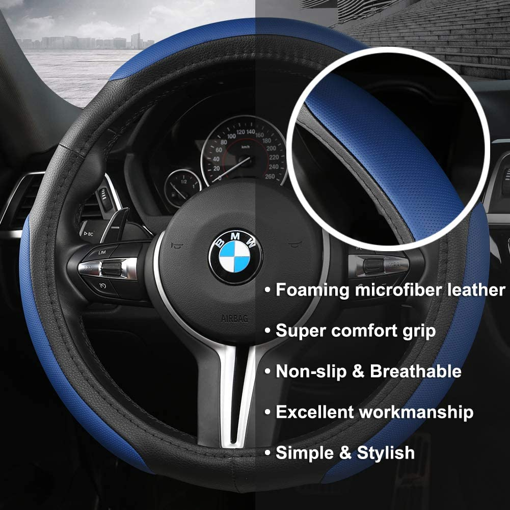 15 inch Universal Black Panther Car Steering Wheel Cover with Wave Pattern Red Line Durable /& Anti-Slip Design