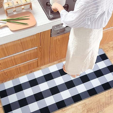 Etonnant USTIDE Black And White Buffalo Check Rug Antiskid Velvet Kitchen Rug Mat  23.6u0026quot ...