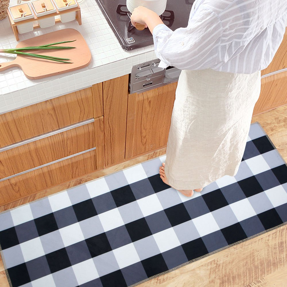 Ustide Black And White Buffalo Check Rug Antiskid Velvet