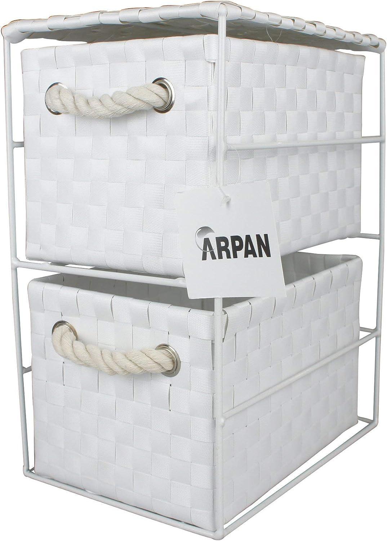 ARPAN Armario de Almacenamiento con 2 cajones 2 Drawer unit-18x25x33cm Color Blanco