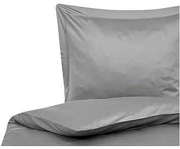 Mako Satin Bettwäsche Lydia In Grau Mit Leicht Glänzender Oberfläche