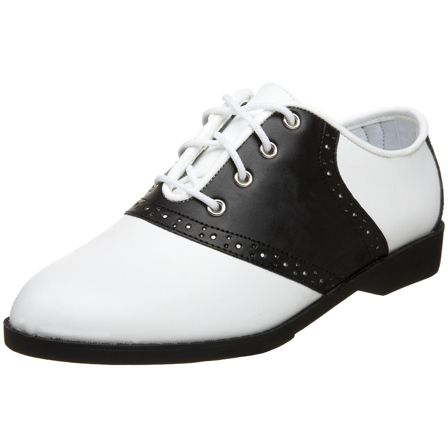Retro Vintage Flats and Low Heel Shoes Ladies Saddle Shoes 1950s Costume Shoes 1950s Saddle Shoes White/Black $29.88 AT vintagedancer.com