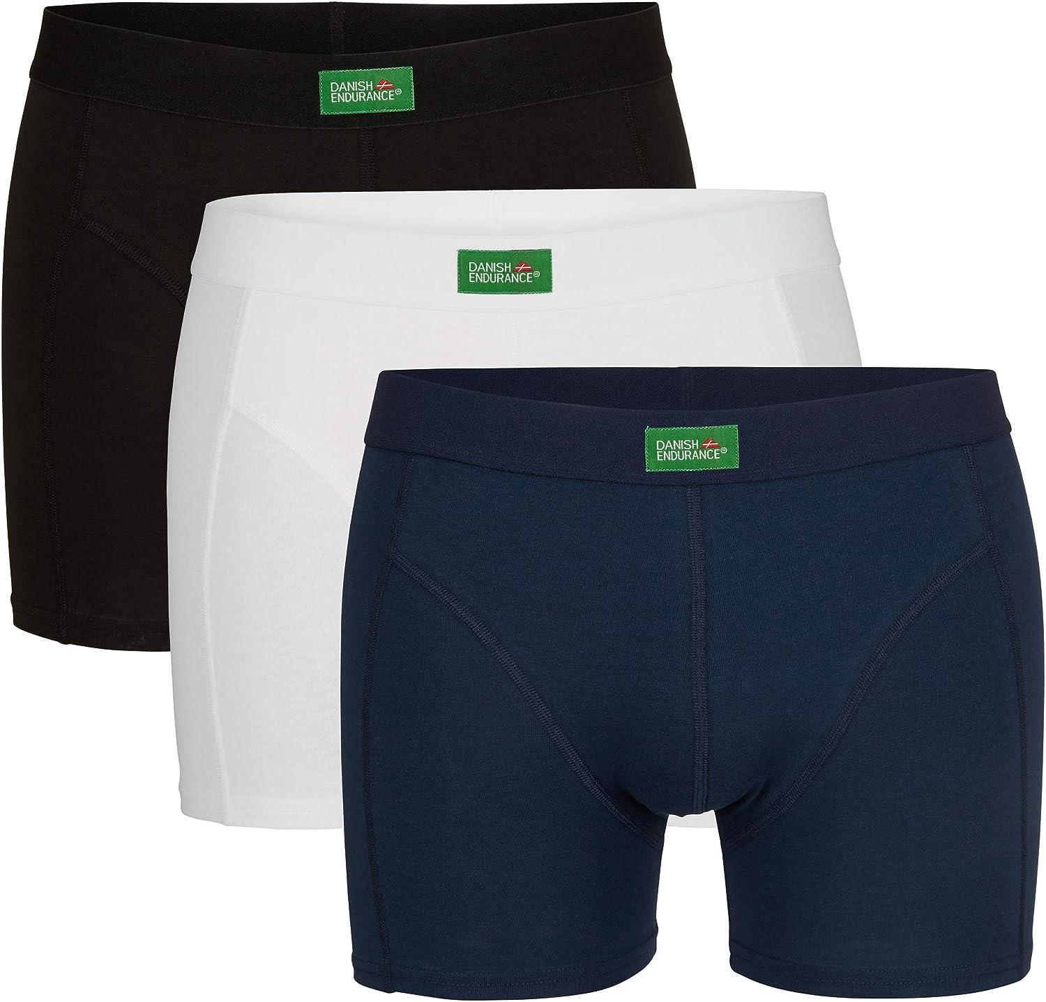 Intimo Mutande Uomo 3 Pack DANISH ENDURANCE Boxer da Uomo in Cotone Biologico Elasticizzato Nero Bianco Blu