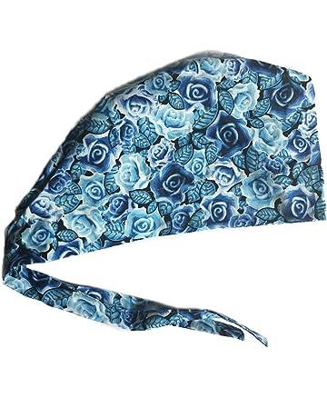 28f3517d52e Women s Front Fold Tie Back Scrub Cap Surgical Cap Blue Roses