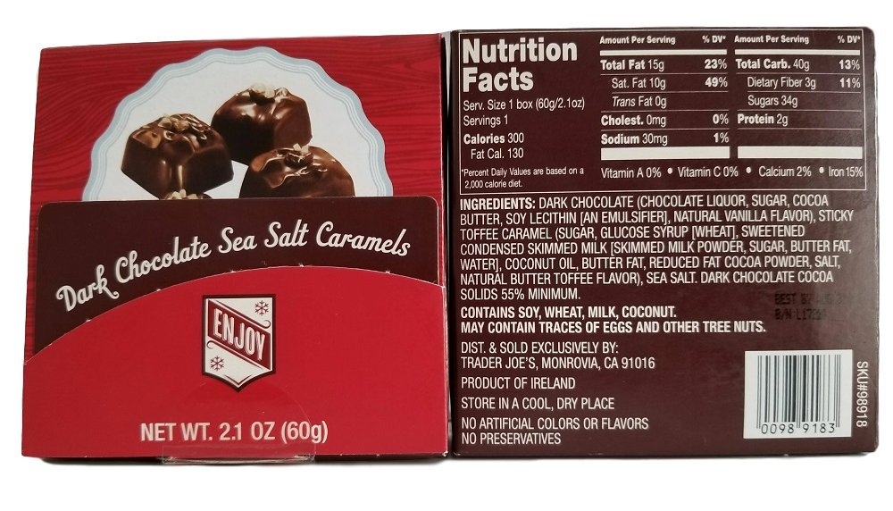 Trader Joe's Dark Chocolate Sea Salt Caramels 2 Item Gift Pack