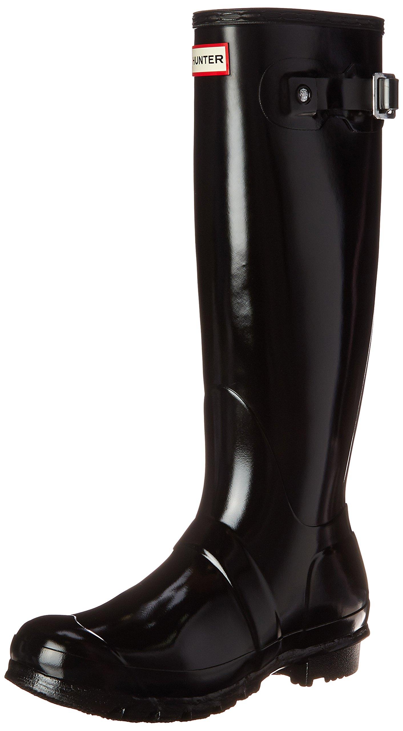 Hunter Women's Original Gloss Snow Boot, Black Gloss, 7 M