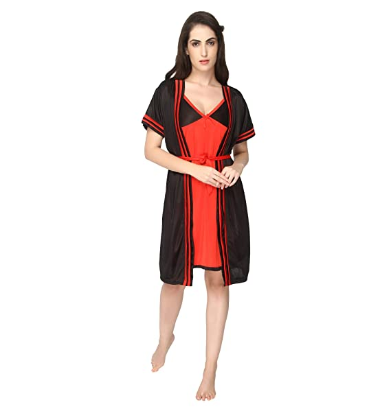 3f99745f4a Pretty Awesome Women s Satin Bedroom Nighty Set (Black   Red)  Amazon.in   Clothing   Accessories