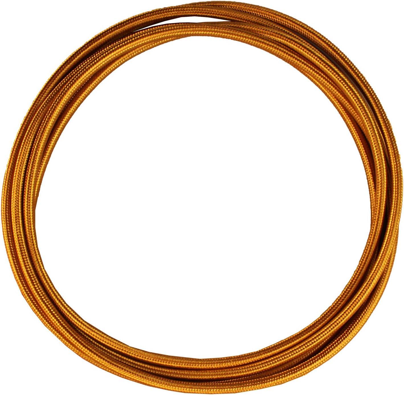 smartect Cable para l/ámparas de tela en color Dorado/ 3 x 0,75 mm/² 3 hilos - Cable de luz con revestimiento textil Cable textil trenzado de 5 Metro