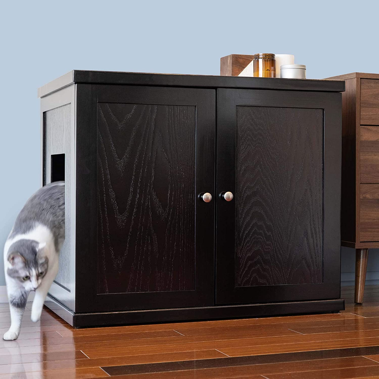 Cat Litter Box Enclosure Cabinet