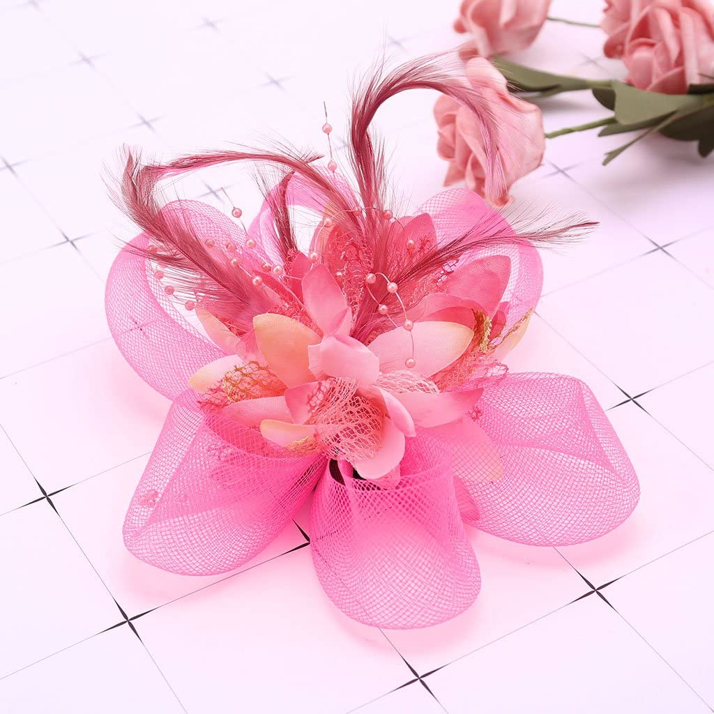 Flower Feather Brooch Fascinator Corsage For Wedding Ball Head Hair Clip 14cm UQ
