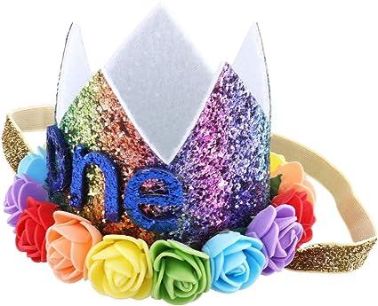 Kids Flower Crown Headband for Birthday Party Hair Band Princess Tiara Headwear