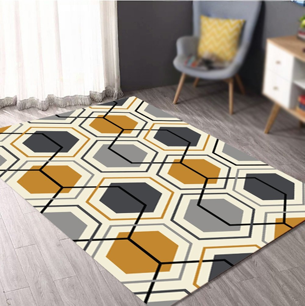 Modern Chinese geometric rugs / living room coffee table sofa mat / dresser carpet / bedroom bedside blanket / door mat ( Size : 140200cm )