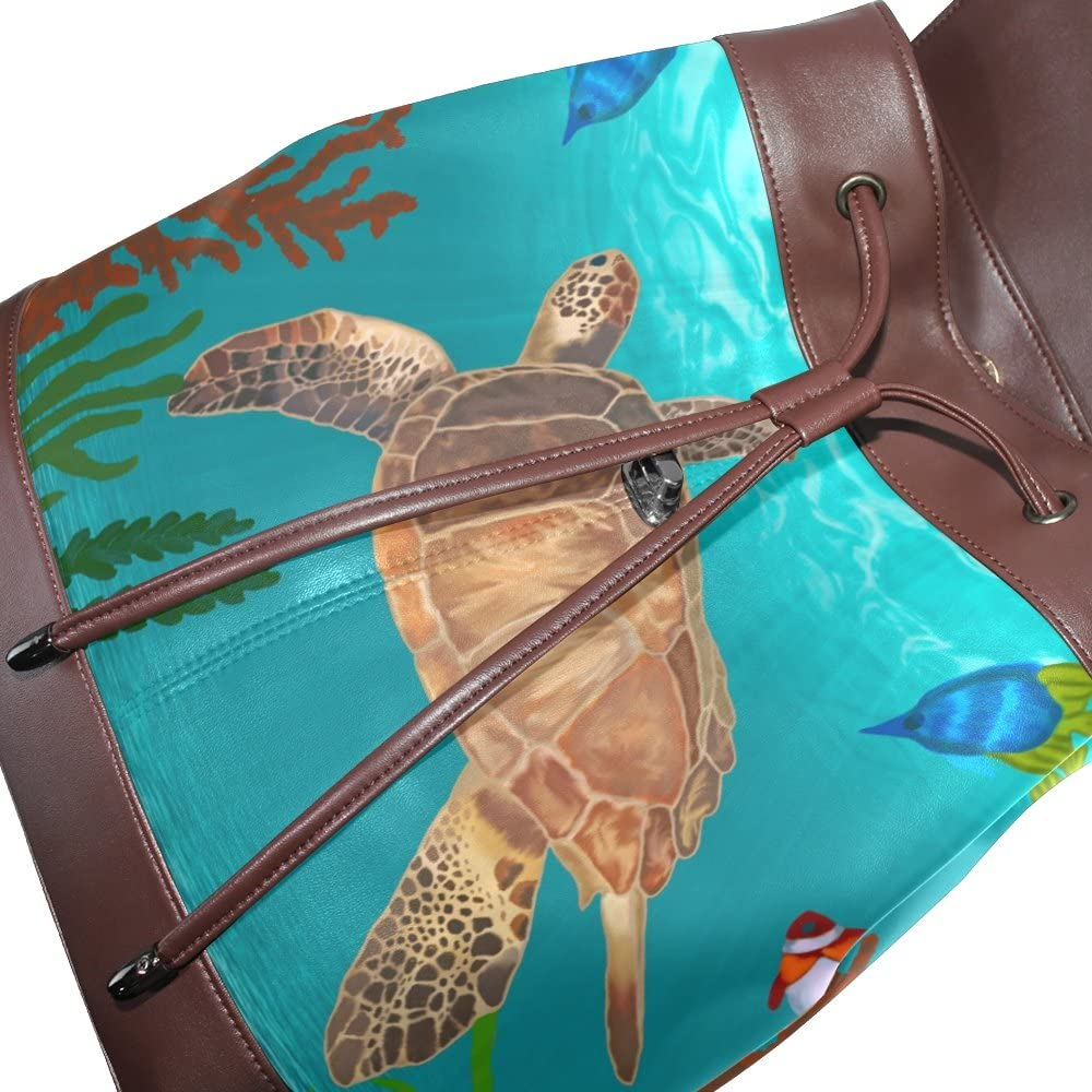 KUWT Sea Turtle and Ocean Fish PU Leather Backpack Photo Custom Shoulder Bag School College Book Bag Rucksack Casual Daypacks Diaper Bag for Women and Girl