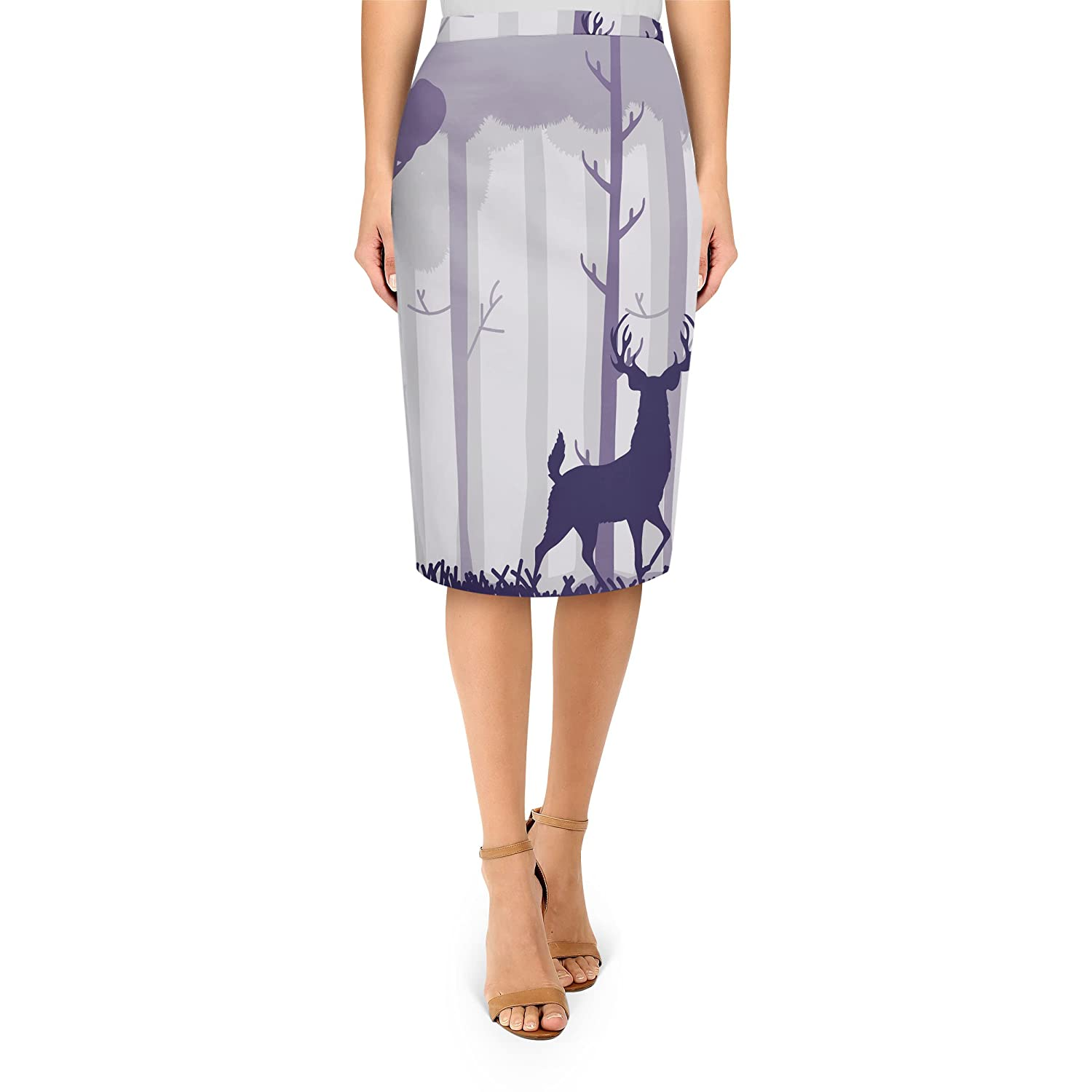 Stag In A Forest Midi Pencil Skirt