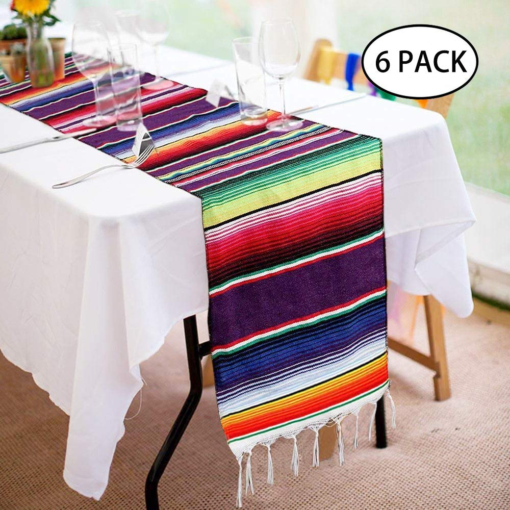 Fowecelt 6 Pack Mexican Serape Table Runner 14 x 84 Inch for Mexican Party Wedding Decorations Outdoor Picnics Dining Table, Fringe Cotton Handwoven Table Runners by Fowecelt