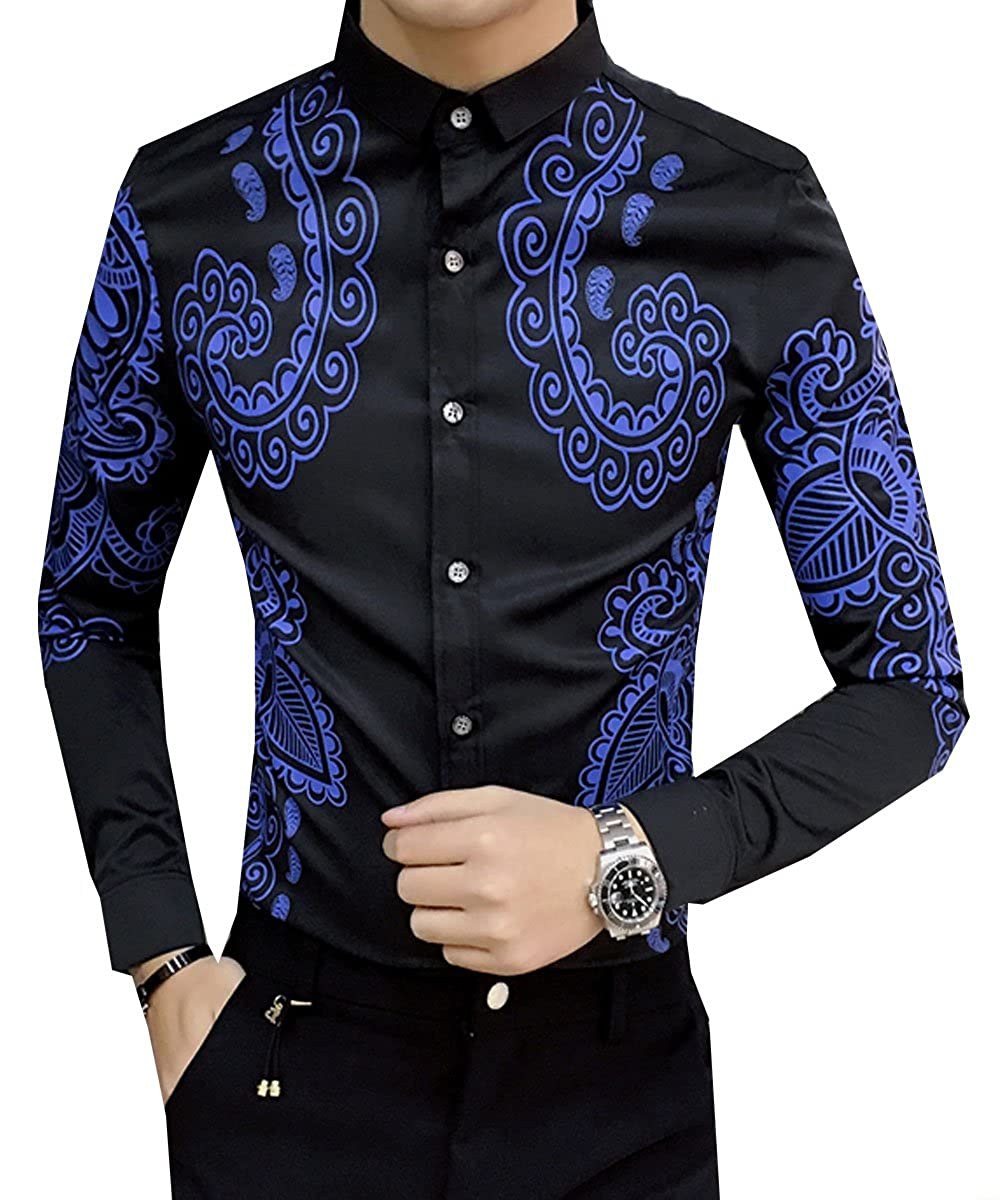 S/&S Mens Slim Fit Button Down Long Sleeve Pattern Printing Formal Dress Shirt