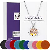 "JAROMA Premium Tree of Life Aromatherapy Essential Oil Diffuser Necklace Locket Pendant, Hypo-allergenic 316L Surgical Grade Stainless Steel Jewelry with 24"" Chain and 10 Washable Pads"