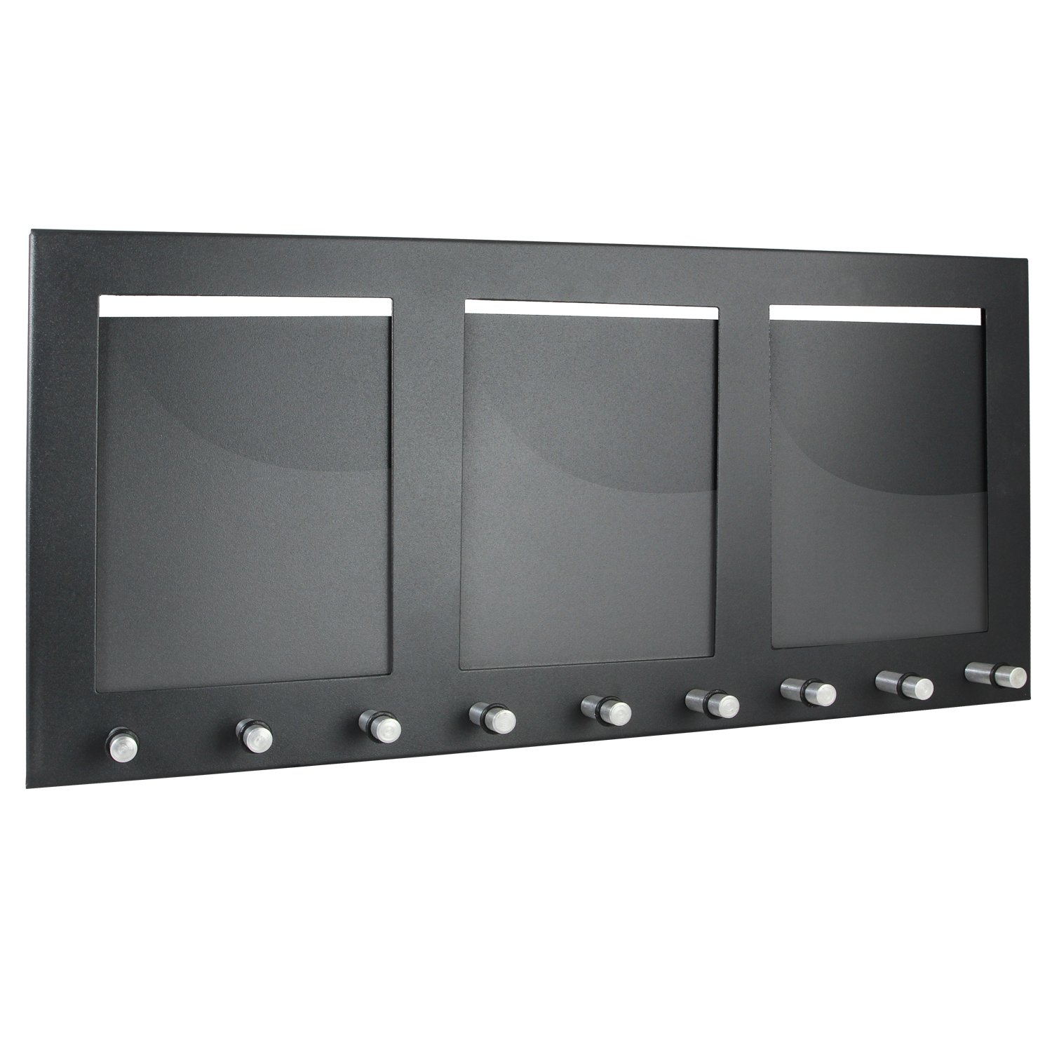HMF 10850-02 Key Cabinet Board 9 Keys with 3 Photo Frames 44 x 20 x 1 cm , black