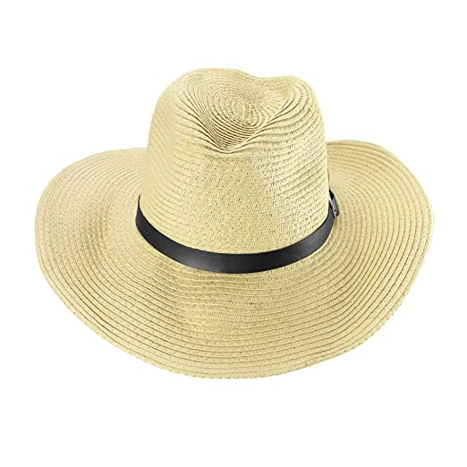 Men s West Cowboy Hat Wide Large Brim Straw Bucket Hat Breathable Foldable  Fedora Hat Summer UV 55ffcbc041ed