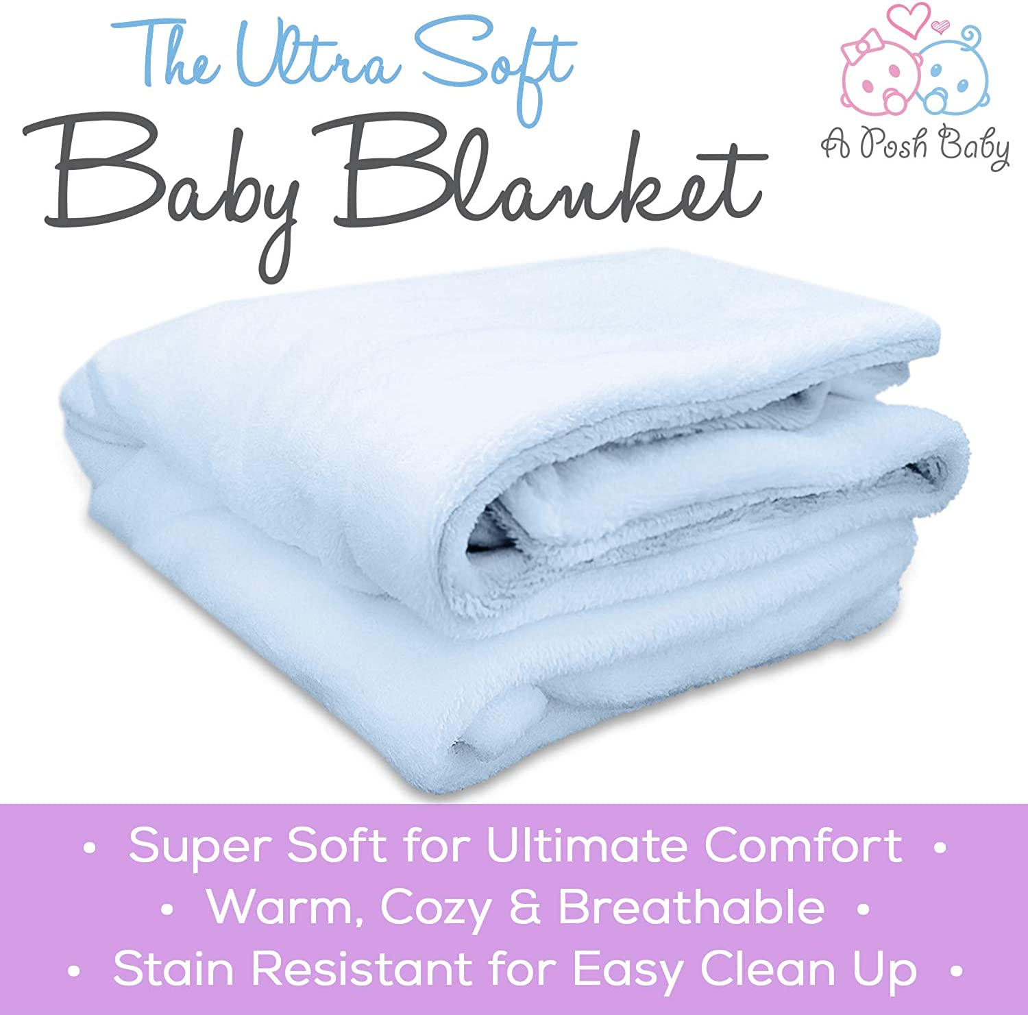 30 x 40 in Warm and Cozy APB Baby Blanket with Double Layer Backing Ultra Soft