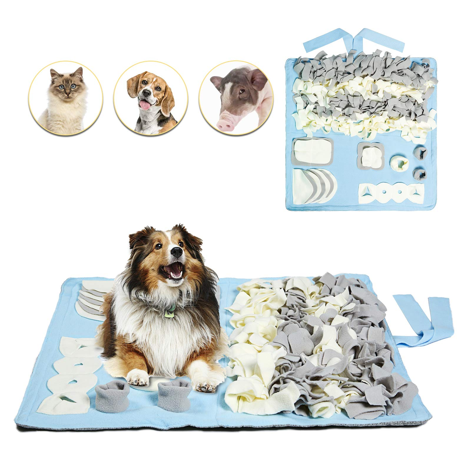 Petvins Dog Snuffle Mat Treat Blanket, Pet Puzzle Activity Mat for Stress Release, Nose Work Mat for Slow Feeding and Foraging Training Blue by Petvins