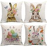 Johouse Easter Pillowcase, 4 Linen Easter Bunny Upholstered Sofa Pillowcases, 18 x 18 inch