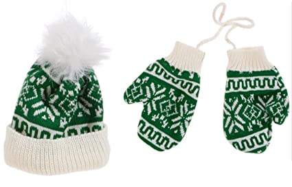 Amazon.com  Christmas Knitted Stocking Hat and Mitten Pair Ornament ... d14c8f995a4